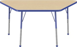 "30"" x 60"" Trapezoid T-Mold Adjustable Activity Table with Standard Ball, Maple/Blue"