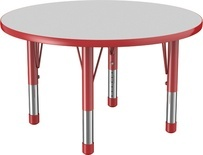 "36"" Round T-Mold Adjustable Activity Table with Chunky Leg/Gray Top"