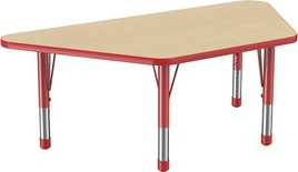 "30"" x 60"" Trapezoid T-Mold Adjustable Activity Table with Chunky Leg, Maple/Red"