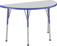 "24"" x 48"" Half Round T-Mold Adjustable Activity Table with Standard Ball, Gray/Blue"